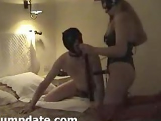 maiden having on strapon and her hubby sucks it