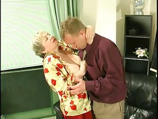 plump albino granny uses her huge saggy breast