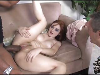 cuckold eats dark sperm out of his wifes kitty