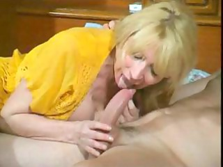 filthy cougar pale bitch eats his tool and