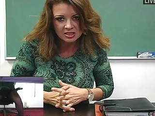 horny lady lecturer plays  into stunning dark