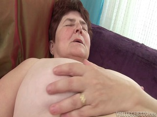 busty old acquires her hairy cave juicy has she