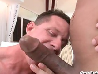 older  muscle guy licking brown dick part5