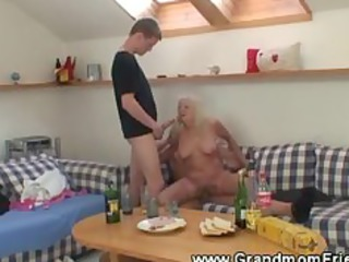 drilling elderly three people with licking and