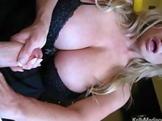 mega boobed housewife giving a hot handjob