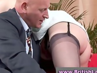 cougar british babe inside nylons is tasted by