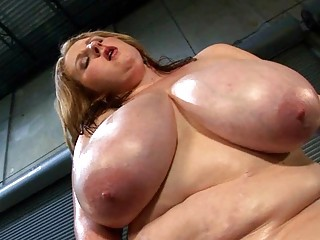 super boobed lady girl oils her chubby rack