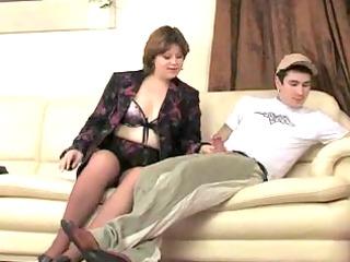 overweight brunette hair mom inside pantuhose.by