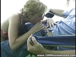 fresh lady giving fellatio outside