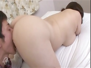 chunky older  asian bitch sucks his libido and