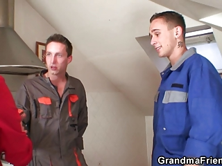horny old masturbates two repairmen