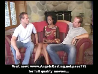 innocent afro bride in three people does fellatio