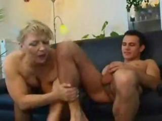 cougar blond russian grownup eats his penis and