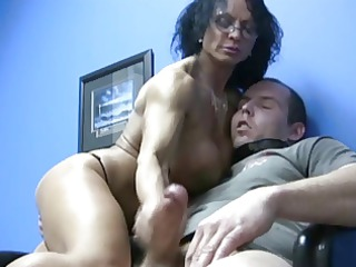 big tits woman handjob