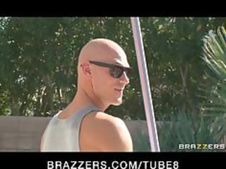brunette woman in g-string bangs swimming-pool
