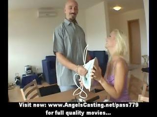 blonde wonderful bride angel doing blowjob inside