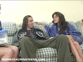milf teaching teenager how to lick and gang bang