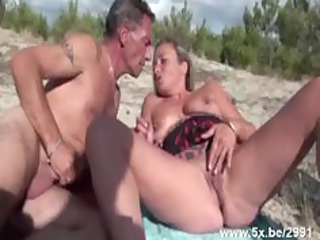 french grown-up gangbanged on the beach
