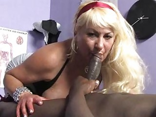 sporty albino momma with giant breast licks black