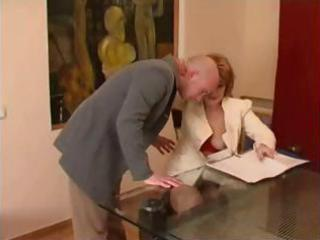 grownup girl boss obtains her bald secretary to
