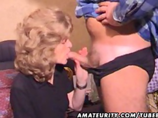 mature inexperienced lady  blowjob with white