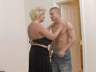 desperate blond woman in nylons gangbangs