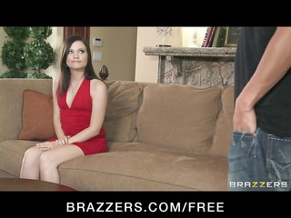 brunette woman comes to the casting couch and