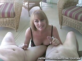 desperate blonde mature babe is giving two boys