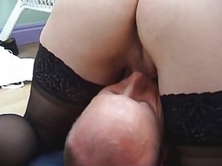 pale lady into  stockings copulates and gets a