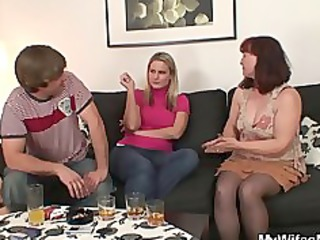 she is watching him drilling her mom