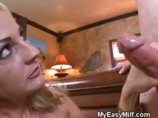 filthy mature babe licks penis