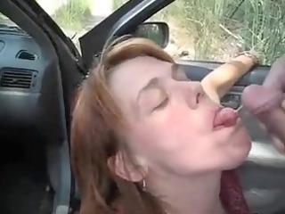 car oralservice pleasure and sperm flow with a