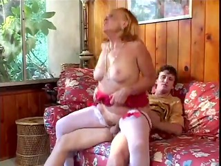 naughty grandmother sucks, bangs her grandson