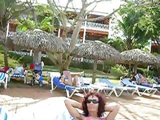 a hirsute pits older  babe at a hotel swimming