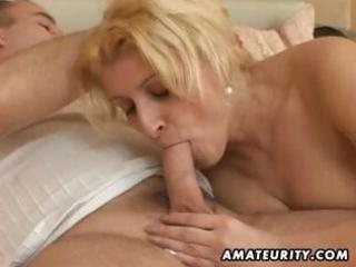busty, heavy amateur housewife eats his cock,