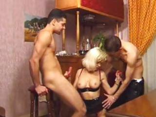 horny mother double penetrated by two pals on the