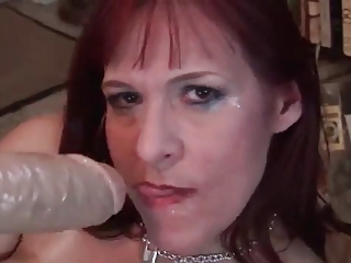 horny woman with large vibrator
