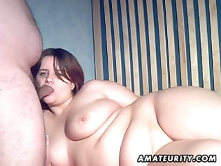 chubby inexperienced brunette woman eats penis