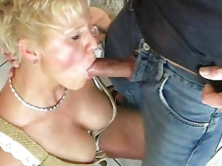 blonde lady enjoys beer and white cream