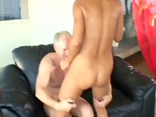 aged goldenhaired housewife receives arse drilled