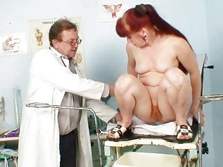 cougar olga has her redhaired bushy kitty gyno